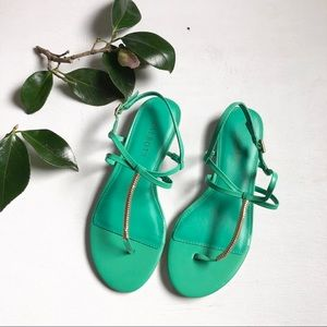 Talbots green gold leather thong summer sandals